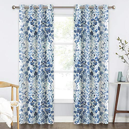 KGORGE Watercolor Leafy Decor Collection Window Curtains for Living Room / Bedroom, Summer Heat Insulated Drapes for Energy Saving, 52 inches Width x 84 inches Length, 2 Pcs, Ocean Blue