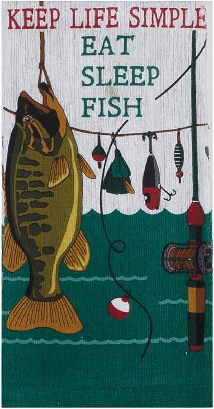 Kay Dee Designs Keep Life Simple Eat Sleep Fish Terry Towel