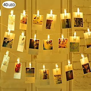 Mojonnie Led Photo Clips Lights, Led String Lights Battery Operated Decorative String Lights for Christmas Tree Bedroom Wedding Party Hanging Photos Pictures Cards Memos Paintings, Warm White