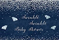 HD 10x7ftブルーデニムベビーシャワーの背景シルバーダイヤモンドブルージーンズの写真の背景ブルーベビーシャワーの装飾新生児の息子娘芸術肖像写真のブースの壁紙
