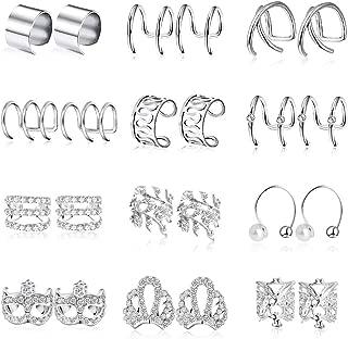 Stainless Steel Ear Cuff, 12 Pairs Ear Cuff for Women Cartilage Clip On Wrap Earrings for Women Girls
