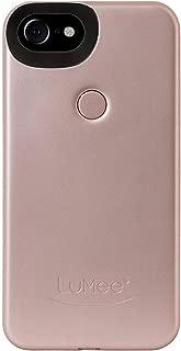 LuMee Two Selfie Phone Case, Rose Matte | LED Lighting, Variable Dimmer | Shock Absorption, Bumper Case | iPhone 8 / iPhone 7 / iPhone 6s / iPhone 6