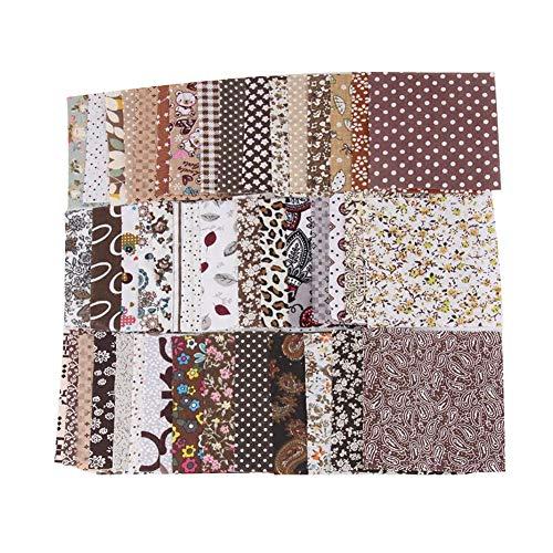 Bodhi200 0 50 unidades de 10 cm x 10 cm de tela de algodón para patchwork, manualidades, costura, manualidades, color marrón