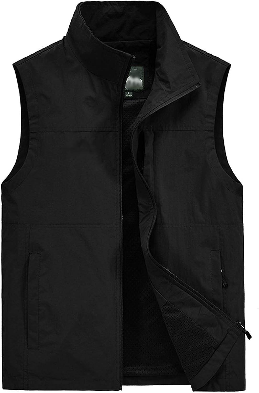 Flygo Mens Outdoor Lightweight Travel Work Fishing Vest Jacket Outerwear