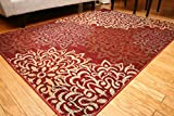 Feraghan/New City Contemporary Modern Floral Flowers Wool Area Rug, 2' x 3', Cinnamon/Brown/Beige