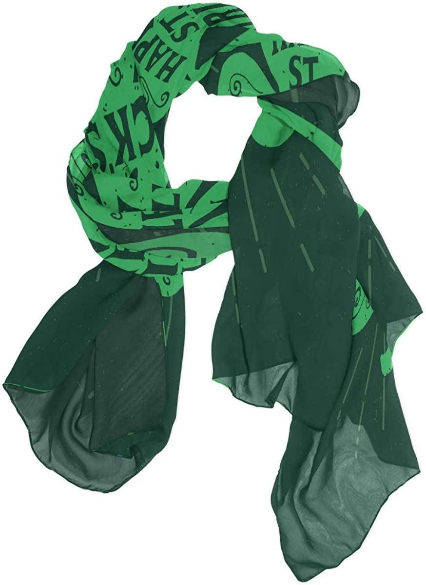 AUUXVA Fashion Scarf Happy Saint Patrick's Day Clover Long Lightweight Sunscreen Scarf Shawl Wrap Muffler Neckerchief for Women Men