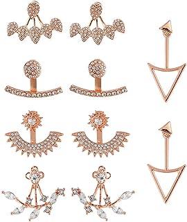 5 أزواج أزياء الجوف لوتس زهرة الأقراط الكريستال بسيطة أنيقة وأقراط