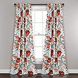 Lush Decor Poppy Garden Curtains Room Darkening Window Panel Set for Living, Dining, Bedroom, 84' L Pair, Multi