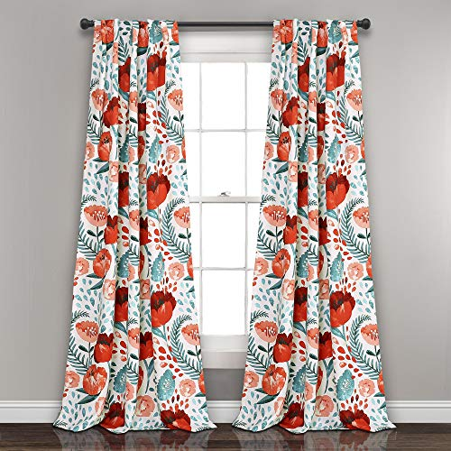 "Lush Decor Poppy Garden Curtains Room Darkening Window Panel Set for Living, Dining, Bedroom, 84"" L Pair, Multi"