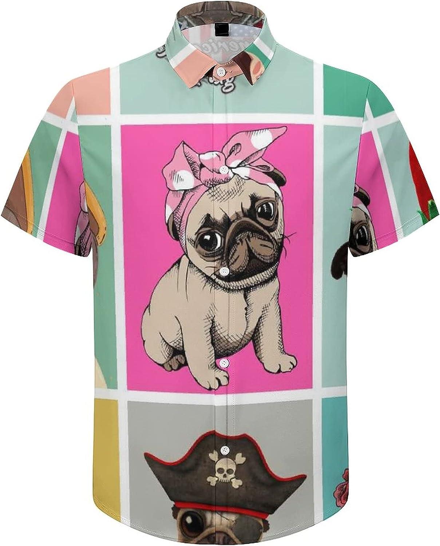Mens Button Down Shirt American Pug Flag Christmas Casual Summer Beach Shirts Tops
