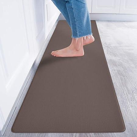 Baibu Home キッチンマット 拭ける 240 踏み心地いい 厚さ8mm 台所マット ブラウン 防水 洗濯いらず ロング 床マット 滑らない ポリ塩化ビニル素材