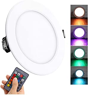 LED Recessed Lights, 4 inch RGB Downlight,10W(Equivalent 60w), 850 lumens, 16 Colors Changing IR Remote Control LED Ceiling Panel Light for Birthday Party Decoration/Household/Bar, Pack of 1