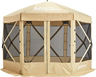 MasterCanopy Escape Shelter, 6-Sided Canopy Portable Pop up Gazebo Durable Screen Tent Bug and Rain Protection (6-8 Person),Beige