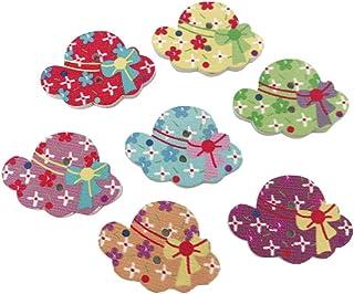 Botões de madeira Healifty 50 peças Botão de costura DIY Botões com 2 furos Decorativos Chapéu Botões para Casaco Jeans Co...