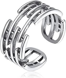 Plata de Ley 925 Anillos Ajustables para Mujeres Boca Abierta Joyería Moderna Decorativa de Dedos Regalo Maravilloso Diseño Especial Minimalista