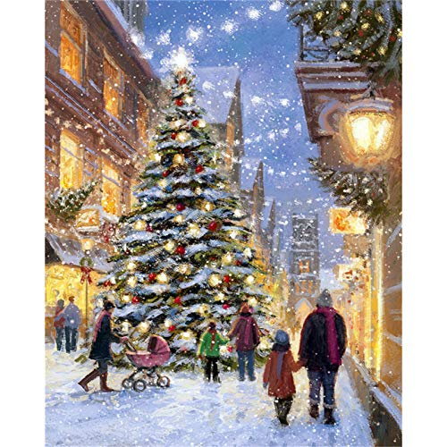 Paint by Number Street Landscape Painting Art Gift DIY Picture by Numbers Christmas Tree Kits Home Decor 16x20 inch Frameless