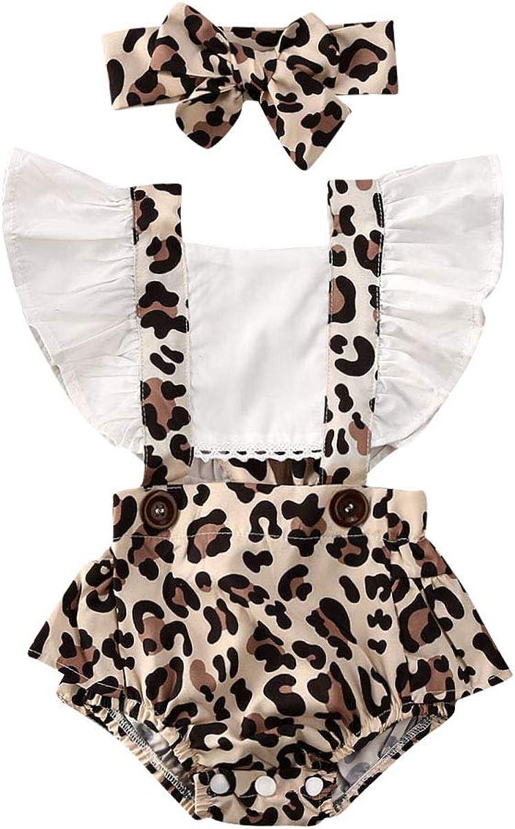 Newborn Baby Girl Ruffle Cotton Bodysuit Pattern Short Sleeve Rompers Jumpsuit Headband Outfits Set Infant