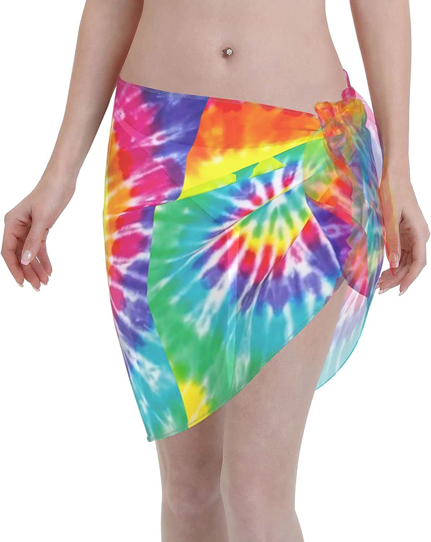 FSERSANHW Colorful Tie Max 71% OFF Dye Chiffon Short Cove Beach Fashion Sarong Women