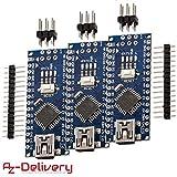 AZDelivery ⭐⭐⭐⭐⭐ 3 x Nano V3.0 mit Atmega328 CH340 mit gratis eBook! 100% Arduino kompatibel mit Nano V3