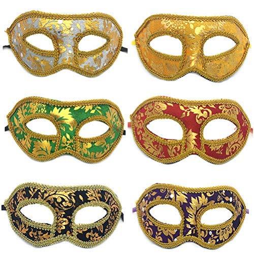 Toyvian Máscara decorativa para fiesta veneciana griega romana con purpurina, 12 unidades