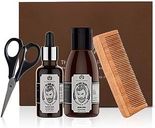 The Man Company Beard Grooming kit - Almond & Thyme Beard Oil, Almond & Thyme Beard Wash, Beard Trimming Scissors, Boyar- ...