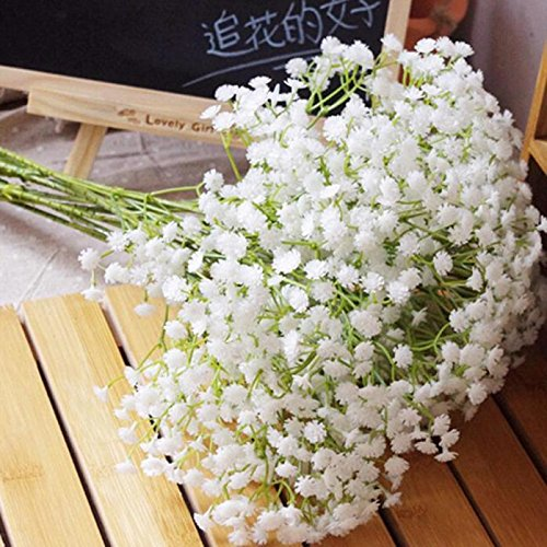 Lenfesh Hochzeit Kunstblumen, Fake Silk Party Strauß Zuhause Dekor (Weiß 3, Hoch: 69cm)