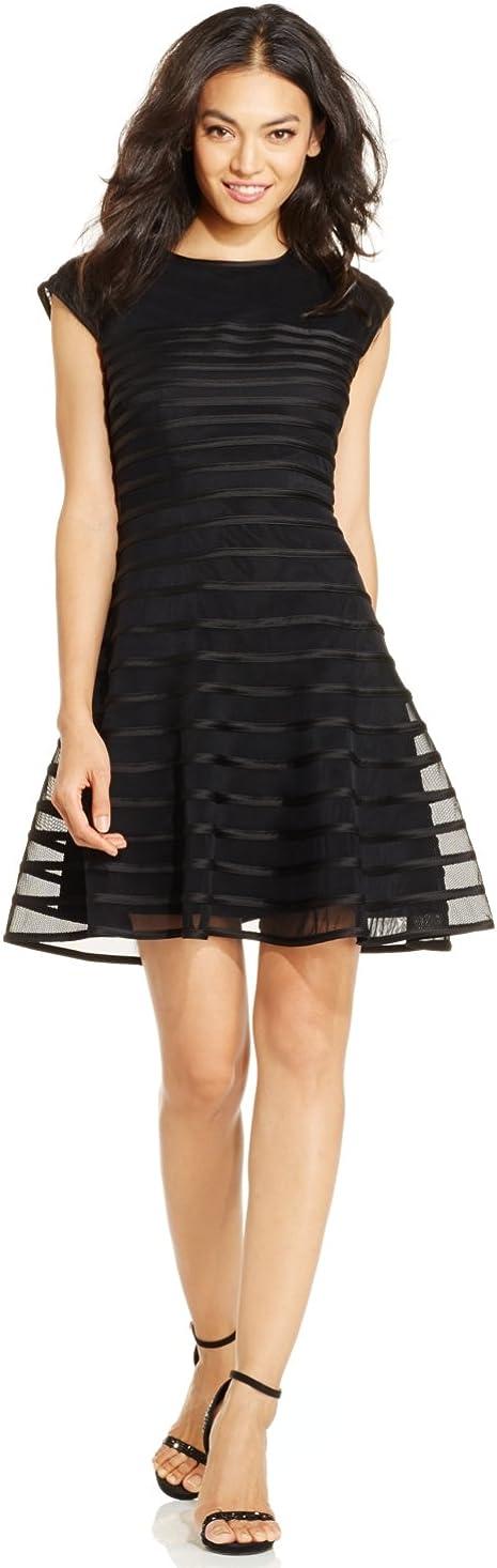 Betsy & Adam Women's Cap Sleeve Ribbon Piping Dress