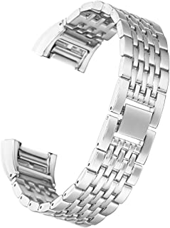 Ginamart Metal Steel Links Wrist Band Watch Replacement Strap Bracelet for Fitbit Charge 2