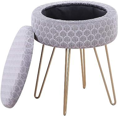 Mxfurhawa Velvet Round Footrest Stool Ottoman, Modern Upholstered Vanity Pouffe Stool Storage Function Side Table Seat Dressi