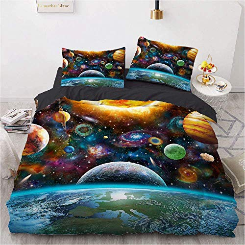 Galaxy Space Themed Duvet Quilt Cover with Pillowcases,100% Polyester Ultra Soft Planet Printed Bedding Set,for Kids Adults (200X200)