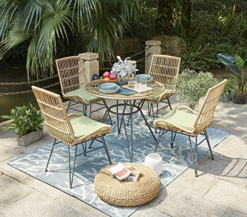 Vintagehaus Sitzgruppe Rattan Outdoor Bistro 5 teilig PE Rattan Polyrattan 4 Stühle inkl.Kissen 1 Esstisch Ø 90