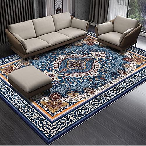 SYN-GUGAI Patrón Floral con Sarcástico Azul, Alfombra Grande Roja, Alfombra Área Habitación Familiar, Suave Pila Corta Alfombras (Color : 1, Size : 100cm×160cm)