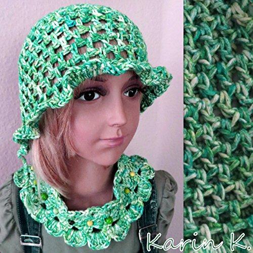 Sommerset für Mädchen in Grün, Petrol, Türkis und Hellgelb im Farbverlauf aus 100% Baumwolle/Sonnenhut, Kragen und Armband