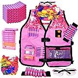 Girls Tactical Vest Kit for Girl Nerf Vest Guns N-Strike Elite W/ Mask Protection Gear for Kids Play Gun for Girls W/ Reload Clips, Glasses, Dart Band & 80 Refill Darts