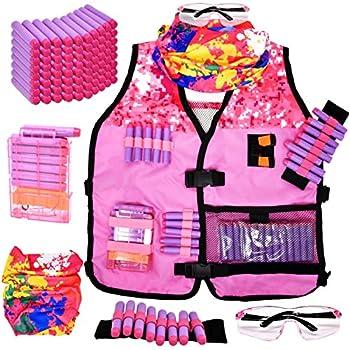 Girls Tactical Vest Kit for Girl Nerf Vest Guns N-Strike Elite W/ Mask Protection Gear for Kids Play Gun for Girls W/ Reload Clips Glasses Dart Band & 80 Refill Darts