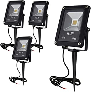 GLW 10W LED Landscape Lights 12V Low Voltage Outdoor Spotlights Warm White 3000K IP65 Waterproof with Spike Stand for Garden,Yard,Deck,Step [4 Pack]