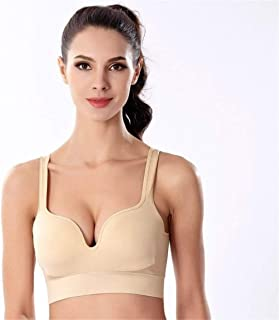 HBSSEE SPORTBRAS Ms. Breathable and Comfortable Sports Bra Yoga Bra Gather no Rims 3D Seamless Underwear Sleep Vest high Elastic Sweat (Color : Beige, Size : XL)