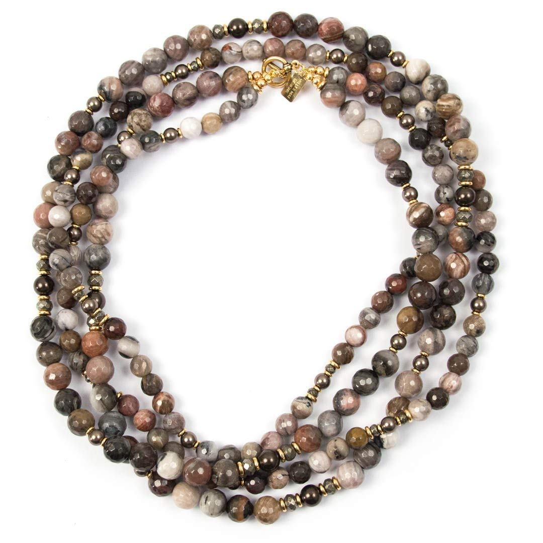 Petrified Wood Double Strand Popular shop is the lowest price challenge At the price of surprise Necklace Brown Swarovski with Glass