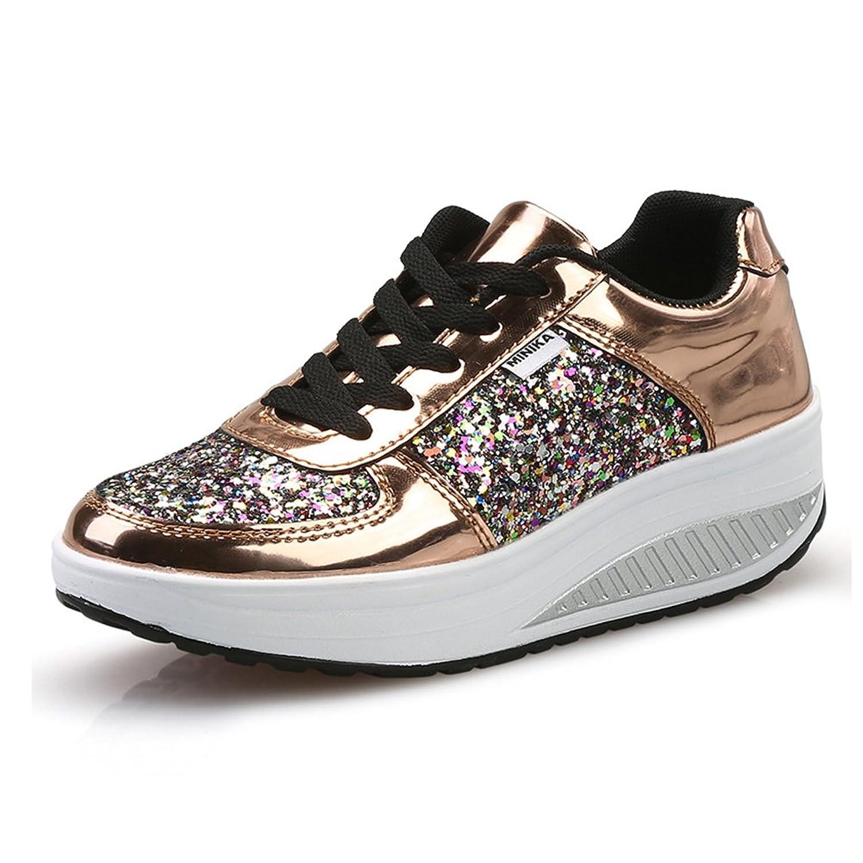 [WYSBAOSHU] レディースプラットフォームウォーキングスニーカーランニング靴