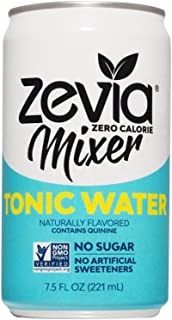 Zevia Tonic Water, Zero Calories, Zero Sugar Take on the Traditional Carbonated Tonic Water, A Perfect Drink Mixer, 7.5 Fl Oz, Pack of 12