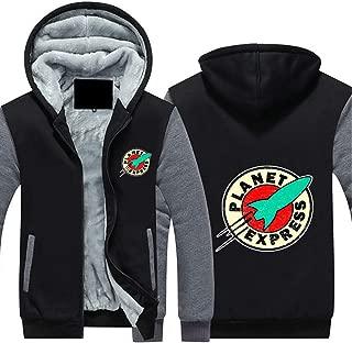 Planet Express Hoodies Men's Winter Plus Velvet Padded Zipper Hooded Warm Sweater Jacket, Sweater