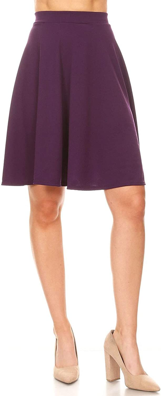Women's Lightweight Stretch High Waist Casual Solid Midi Pencil Skirt