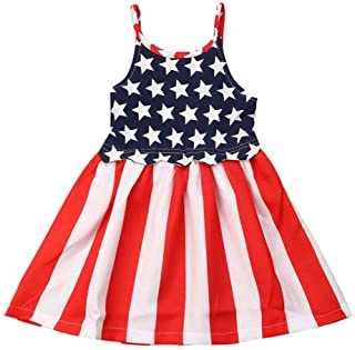 YOUNGER TREE My First 4th of July Toddler Baby Girls Independence Day Dress American Flag Dress Beach Skirt Sundress