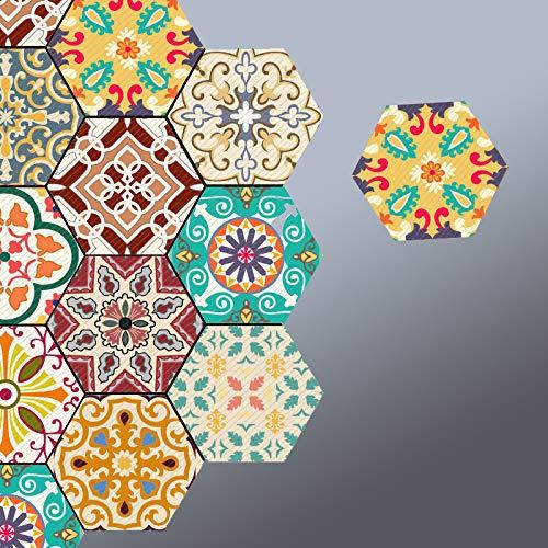 Prior.choice 10 Piezas Coloridas hexágonos marroquíes Autoadhesivas de despegar y Pegar. Antideslizantes, Impermeables, extraíbles, de PVC, para baño, Cocina, decoración del hogar