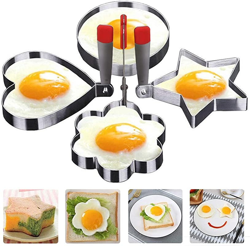Egg Mold Ring With Handle Non Stick Fried Egg Poachers Stainless Steel Omelet Mould Pancake Rings Metal Cooking Sandwich Shaper For Kitchen Breakfast 4 Shapes