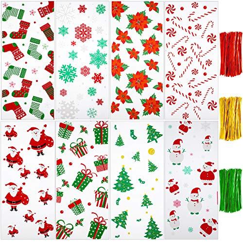 200 Stücke Klar Zellophan Tasche Halloween Weihnachten Süßigkeiten Tasche mit 300 Stücke Drehung Krawatten für Thema Party Lieferungen (Stil 7)