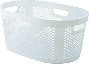 Superio Laundry Basket, 50-Liter Elegant Dotted Basket with Cutout Handles, (White)