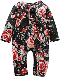 Weixinbuy Newborn Baby Girl's Romper Long Sleeve Floral Ruffle-Trim One-Piece Bodysuit Pyjama Sleepwear