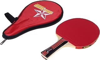 Beho 長いハンドルシェイクハンド卓球ラケット防水バッグポーチ赤室内卓球アクセサリー