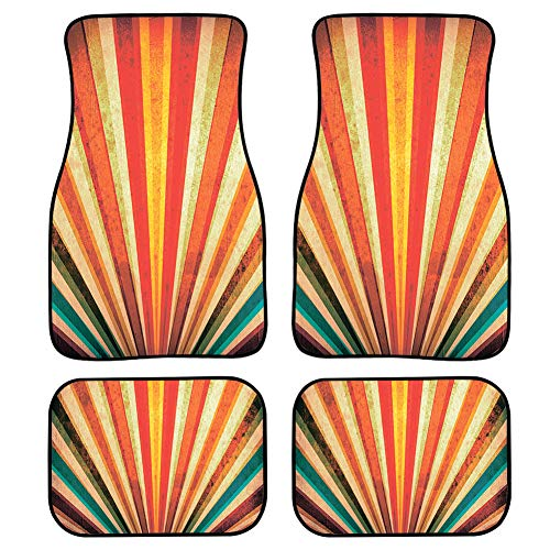 Upetstory Trendy Clean Car Floor Protector Garage Mat Best for Women Girls 4 Piece Heavy Duty Car Heel Mat Orange